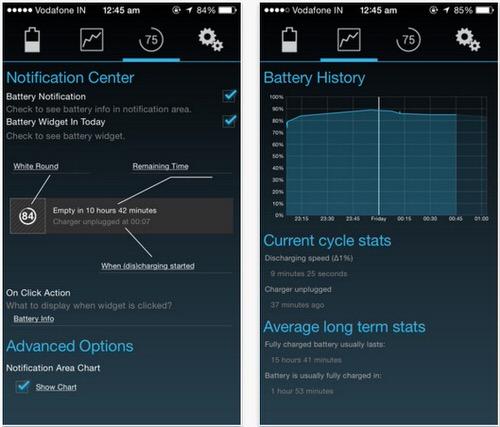 iPhoneアプリBattery stats widget