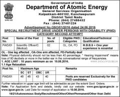 DAE Kalpakkam PWD Recruitment 2016 indgovtjobs