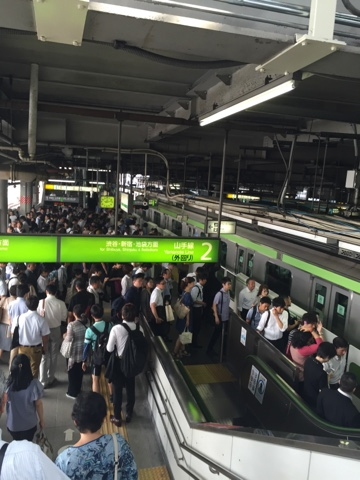 Rush hour on the Yamanote line, Tokyo