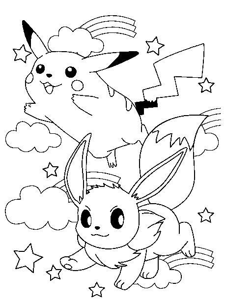 Pikachu and eve coloring pages