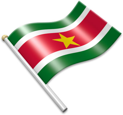 The Surinamese flag on a flagpole clipart image