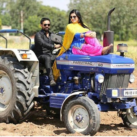 punjabi couple on tractor