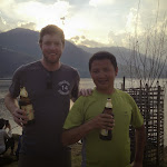 James and Bil enjoying a beer in Pokhara