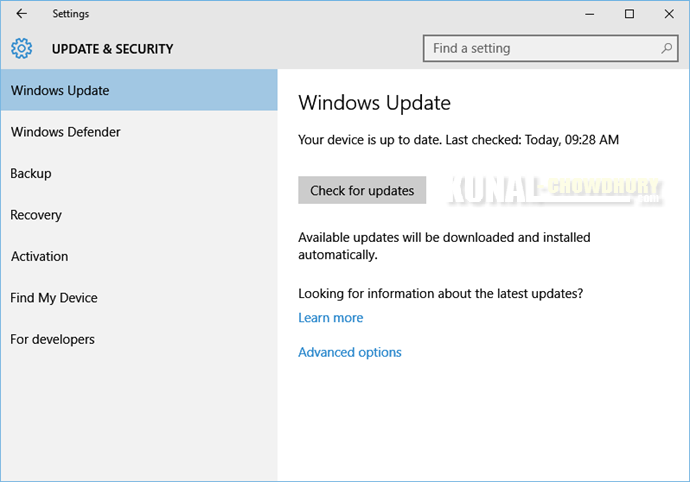 Windows 10 Update page (www.kunal-chowdhury.com)
