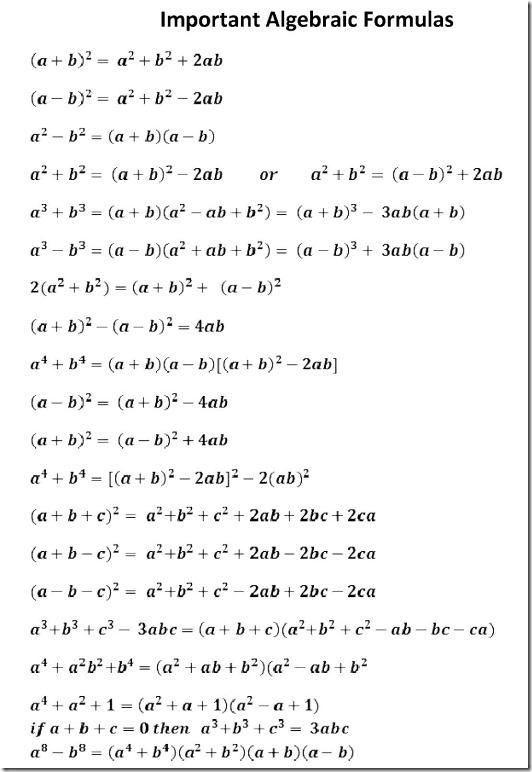 SSC Algebra important Formulas
