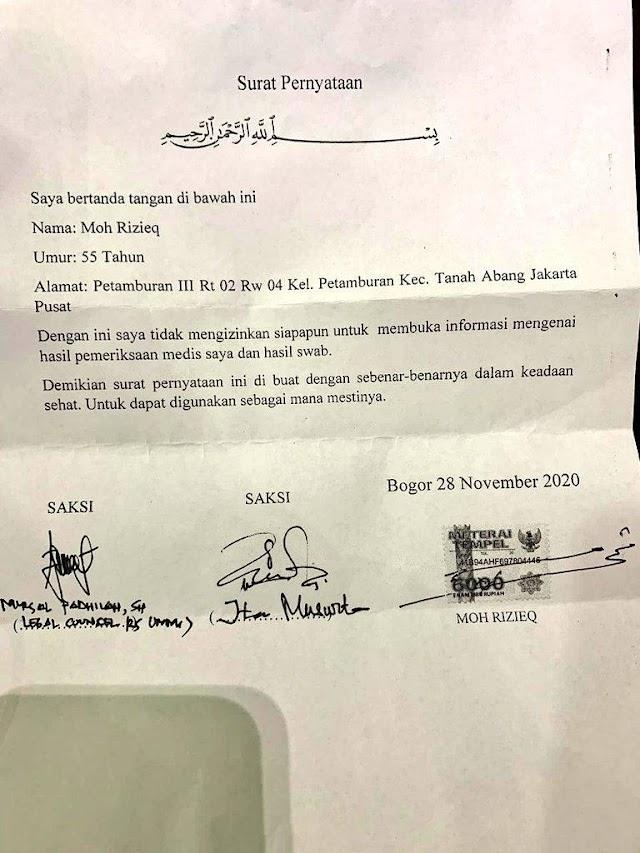 Beredar Surat Peryataan HRS yang tidak Ingin Hasil Medis dan Hasil Swab Dipublis untuk Umun