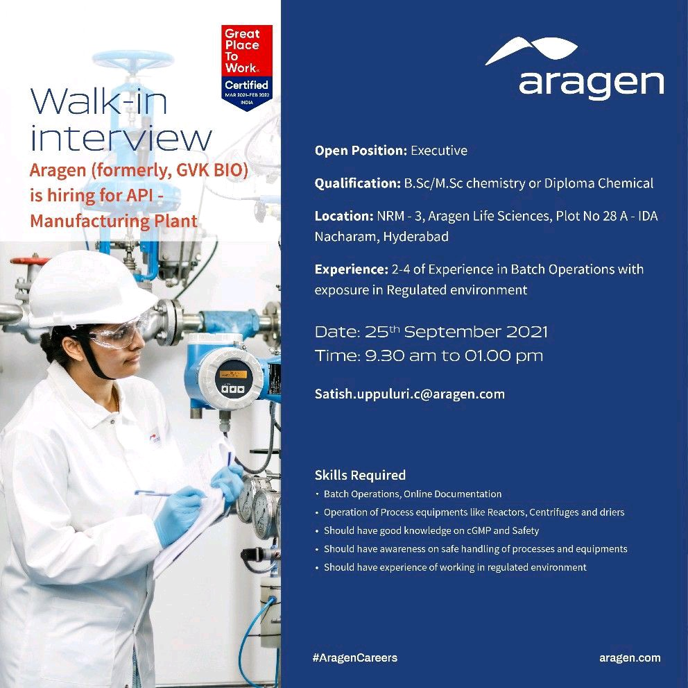 Opening At Aragen For Executive Position In API Manufacturing
