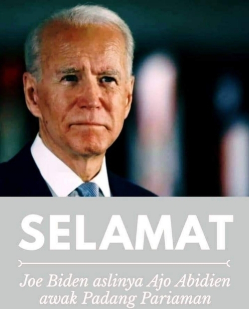Meme Joe Biden Orang Pariaman Beredar di Media Sosial. Viral, Joe Biden Disebut Turunan Indonesia yang Berasal dari Pariaman, Sumatera Barat.