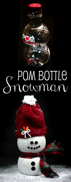 Make a Snowman from a Pom Juice Bottle