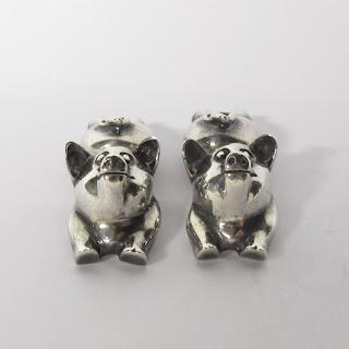 Sterling Silver Pig Cufflinks