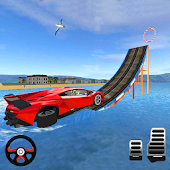 Stunts Car Floating Water Surfer 3D