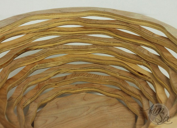 Plywood layered basket on scroll saw