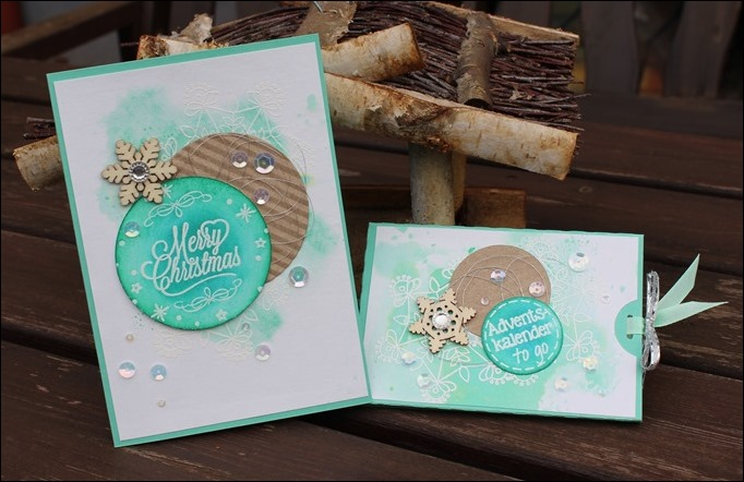 Adventskalender to go Stampin Up Aquarell Snowflake Mint Holz Schneeflocken Embellishments 00
