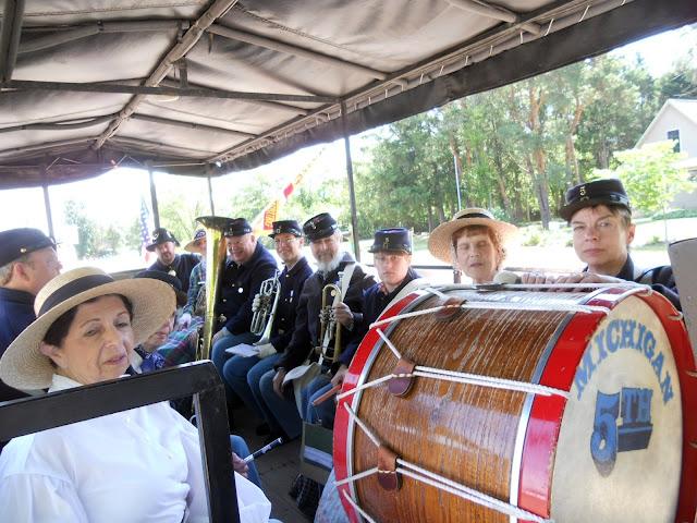 5th MI Regimental Band in wagon