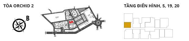 Vị trí các tòa tháp, các tầng có  1 phòng ngủDT: 48,12 m2