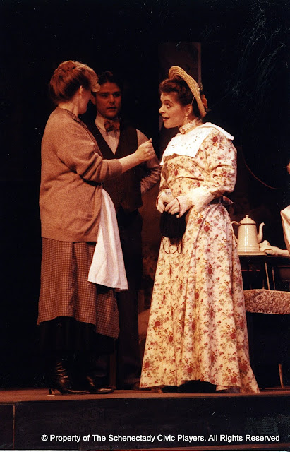 Donna Newton, Rocky Bonsal and Laura LaTorre in LOOK HOMEWARD, ANGEL (R) - March 1994.  Property of The Schenectady Civic Players Theater Archive.