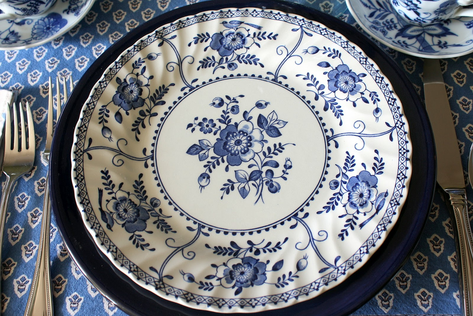 Dinner Plate used as a charger & Life with the Mozas: Chinese Dinner in blue u0026 white