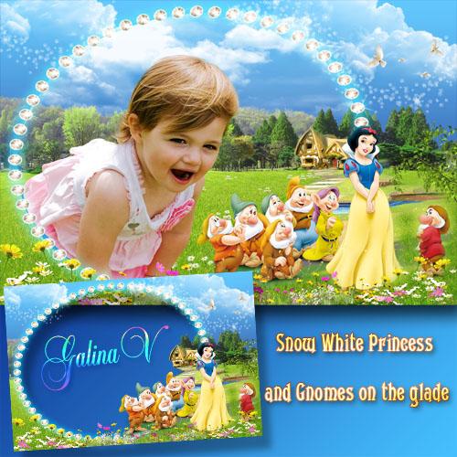 Детская рамка - Белоснежка и гномы на полянке