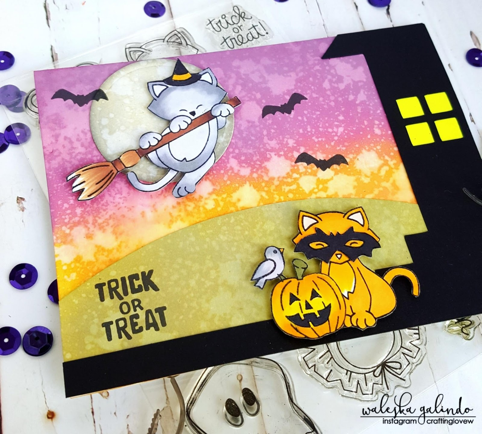 Trick or Treat Card by October Guest Designer Waleska Galindo | Newton's Boo-tiful Night and Newton's Costume Party Stamp Sets by Newton's Nook Designs #newtonsnook #halloween #handmade