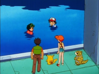 Ash and AJ go swimming