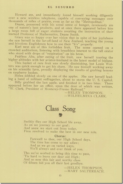Class Prophecy page 2 Class Song