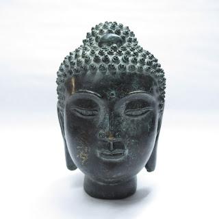Brass Buddha Head Sculpture