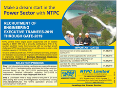 NTPC Executive Trainees through GATE 2019 www.indgovtjobs.in