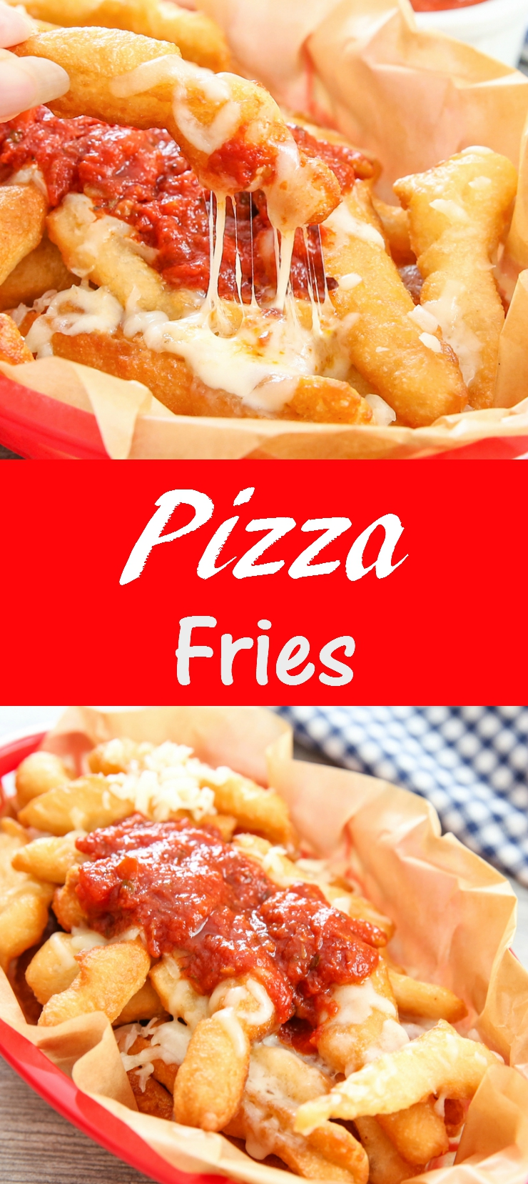 pizza fries photo collage