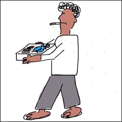 くわえタバコで食材を抱えているオッサンのイラスト