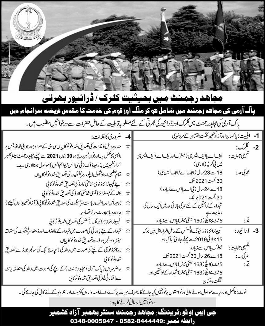 Pak Army Mujahid Force Jobs 2021 (1000 Posts)