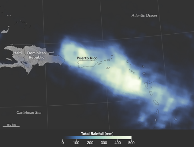 When Hurricane Maria swept across Puerto Rico on 20 September 2017, meteorologists expected it to deliver a tremendous amount of rain in a short period of time. Satellite data confirm that that is exactly what happened. This map shows satellite-based measurements of rainfall in the Caribbean near Puerto Rico. It depicts accumulations measured from the evening (local time) of 18 September 2017 to the evening of 20 September 2017. The brightest areas reflect the highest rainfall amounts, as much as 20 inches (500 millimeters) in places. The measurements are a product of the Global Precipitation Measurement (GPM) mission, which is a partnership between NASA, the Japan Aerospace Exploration Agency, and five national and international partners. Graphic: Joshua Stevens / NASA Earth Observatory