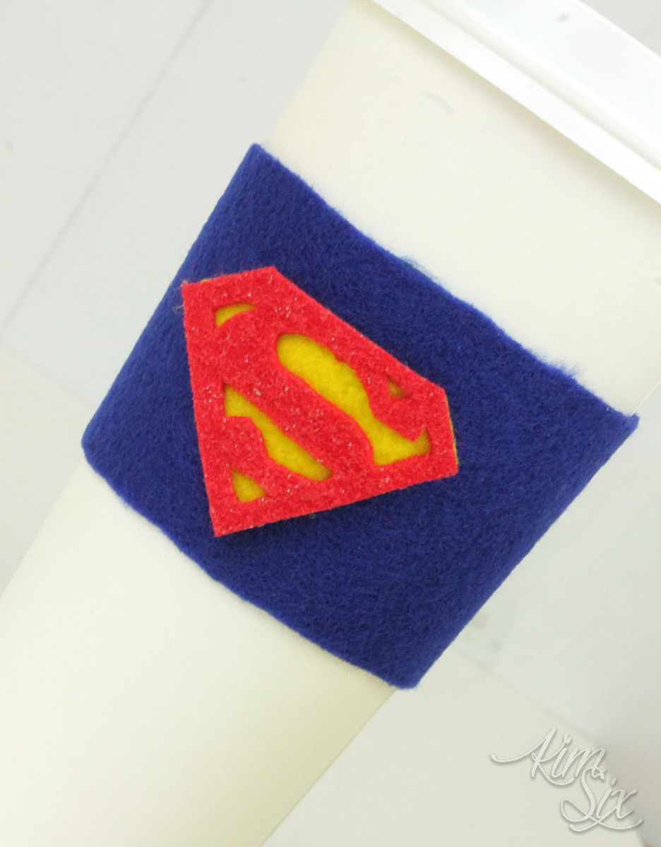 Superman coffee cup coozie