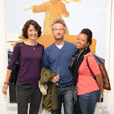 WWW.ENTSIMAGES.COM -   Tara Gadomski, Mike Hodder and Ashley Denise Robinson   at   Julio Larraz - Rules of Engagement - private view at Contini Art UK, London October 2nd 2014Private view of exhibition devoted to the paintings by Cuban born artist Julio Larraz, his first major solo exhibition in London, featuring paintings, sculptures and caricatures.                                                Photo Mobis Photos/OIC 0203 174 1069