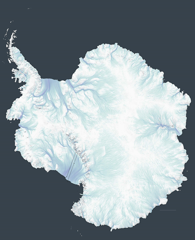 Ice movement on the Antarctic ice sheet. Graphic: The New York Times