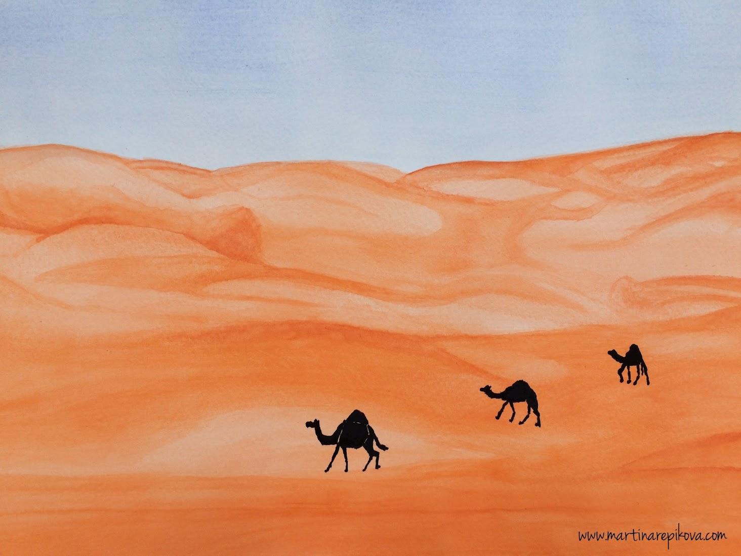 Camels in the desert, UAE (a watercolour painting)