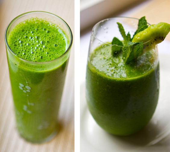 Sassy Sweet Green juice (left) - Kiwi Pineapple Mint (right, recipe ...