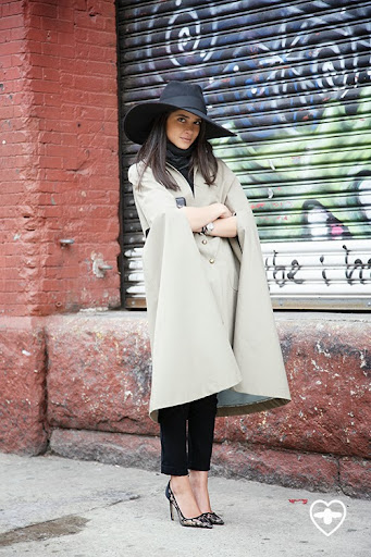 Lainy Hedaya; blogger; Leila Rose cape; Zara mens hat; Zara trousers; Manolo Blahnik shoes;