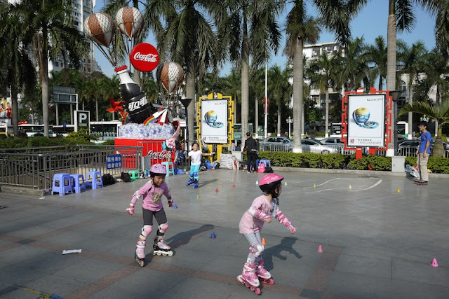 children rollerblading in Zhuhai, Guangdong