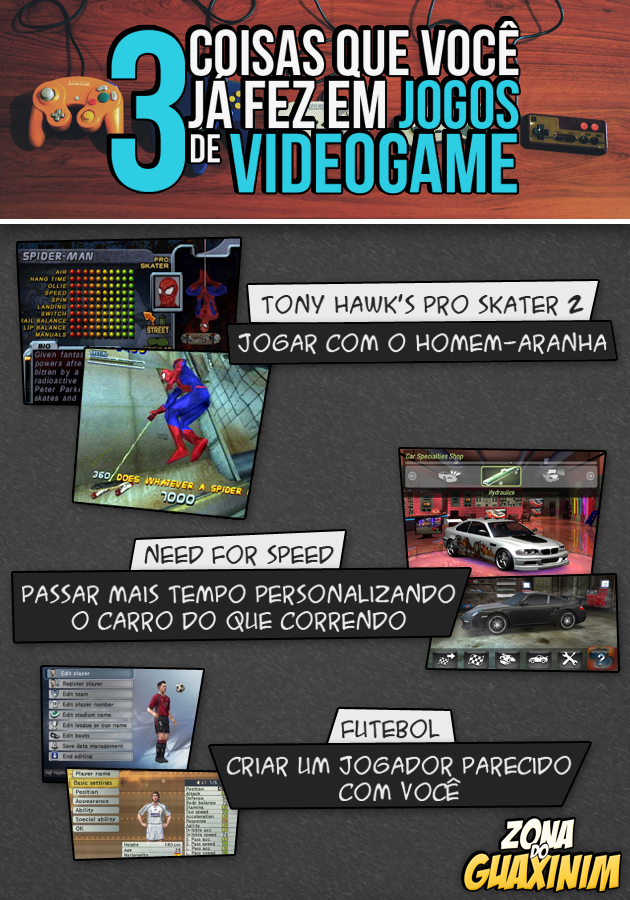 3 coisas que você já fez em jogos de videogame