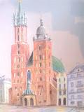 kościół Mariacki w Krakowie, kredka, karton, 26x30cm
