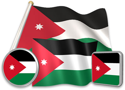 Jordanian flag animated gif collection