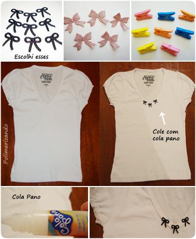 Customizando com pequenos detalhes - lacinhos na blusinha