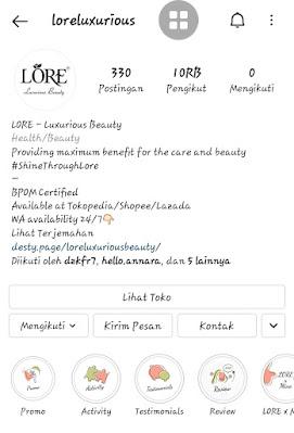Akun instagram Lore