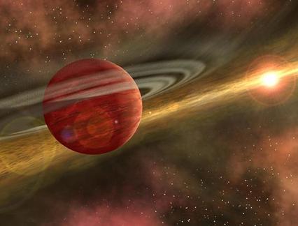 ilustração de um exoplaneta ao redor de uma estrela jovem