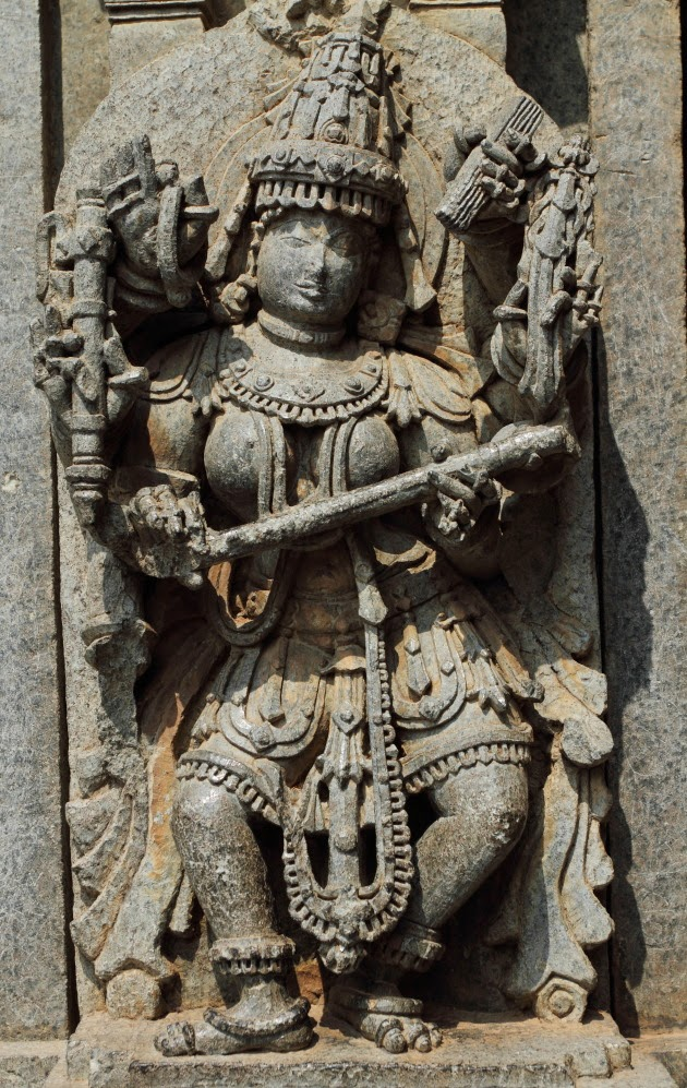Beautiful Sculpture of Goddess Saraswati on the walls of Keshava Temple, Somnathpur, Karnataka