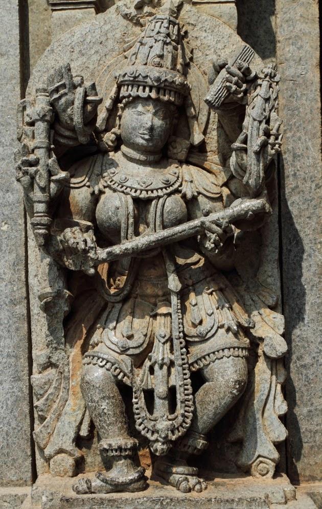 Beautiful Sculpture of Goddess Saraswati on the walls of Keshava Temple, Somnathpur, Karnataka