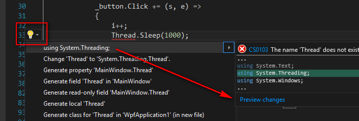 vs 2015 quick action (light bulb)