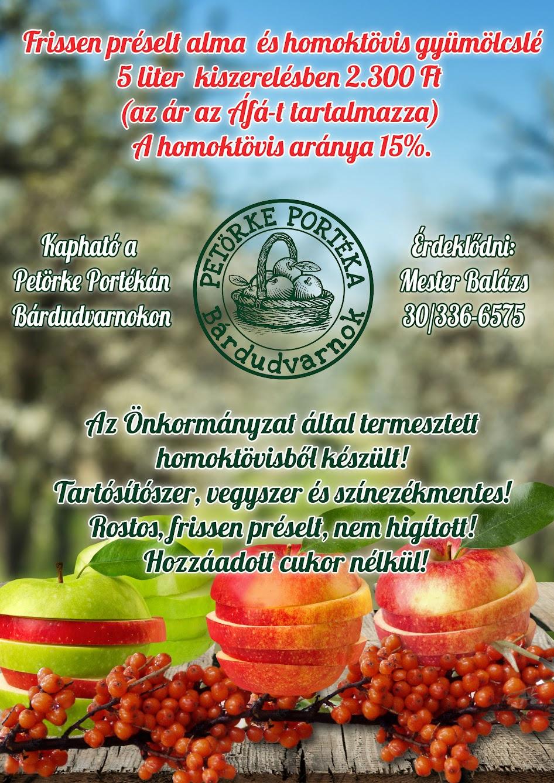 Frissen préselt alma és homoktövis gyümölcslé