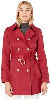 woman wearing an elegant red trench coat