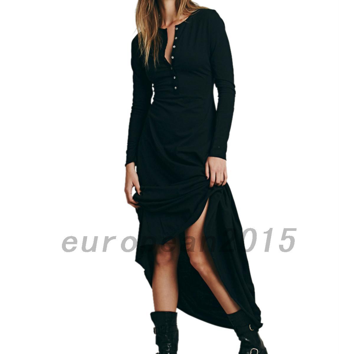 Baumwolle-Frauen-lange-Kleider-V-Ausschnitt-Partykleid-Huelsenkleid-lang-Arm